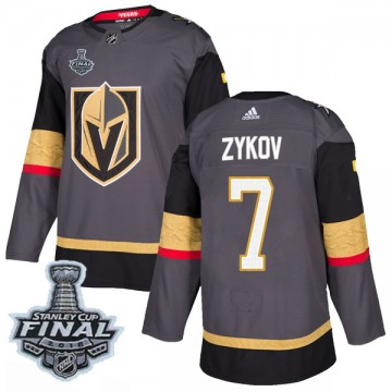 Authentic Adidas Men's Valentin Zykov Vegas Golden Knights Home 2018 Stanley Cup Final Patch Jersey - Gray