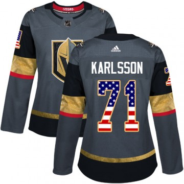 Authentic Adidas Women's William Karlsson Vegas Golden Knights USA Flag Fashion Jersey - Gray