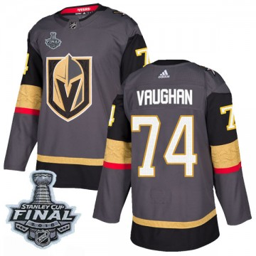 Authentic Adidas Youth Scooter Vaughan Vegas Golden Knights Home 2018 Stanley Cup Final Patch Jersey - Gray
